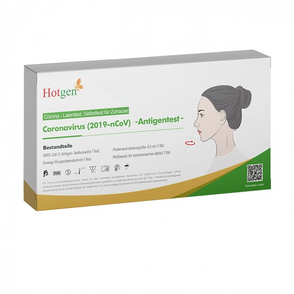 Hotgen Biotech SARS-CoV-2 Antigen Schnelltest 1er Set (mit Laienzulassung)